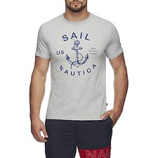 Image of Nautica GREY HTHR AUTHENTIC ANCHOR SHORT SLEEVE TEE