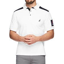 Image of Nautica BRIGHT WHITE NYLON SHOULDER NUMBER PATCH POLO