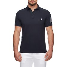 Image of Nautica TRUE NAVY NYLON SHOULDER NUMBER PATCH POLO