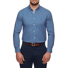 Image of Nautica MONACO BLUE WRINKLE RESISTANT MINI PLAID LONG SLEEVE SHIRT