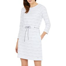 Image of Nautica BRIGHT WHITE RAGLAN SLV TICKING STRIPE PRINT DRESS