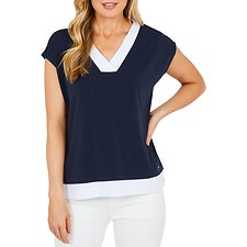 Picture of EXTENDED SLV WOVEN MIX DEEP VNK TOP