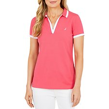 Image of Nautica ROUGE PINK S/S POLO W TRIM INSERT