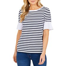 Image of Nautica NAVY SEAS MARINER STRIPE RUFFLE CUFF TOP