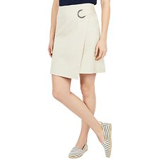 Image of Nautica OYSTER GRAY A LINE WRAP SKIRT