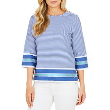 Image of Nautica STONE BEACH BLU CREST STRIPE TOP