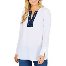 Image of Nautica BRIGHT WHITE LS TUNIC TOP W GROMMET