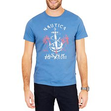Image of Nautica TIDE BLUE BiG & TALL ANCHOR CROSS PALM SHORT SLEEVE TEE