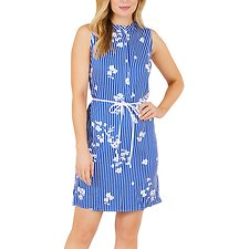 Image of Nautica BRIGHT COBALT STRIPE FLORAL SHIRT DRESS