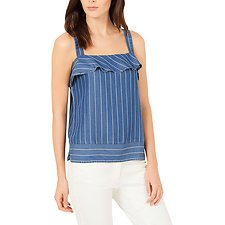 Image of Nautica CADET BLUE WASH STRIPE RUFFLE TOP