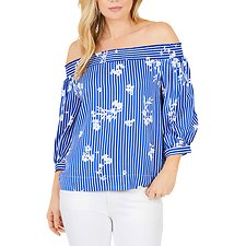 Image of Nautica BRIGHT COBALT OFF SHOULDER FLORAL STRIPE TOP