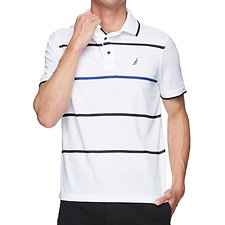 Image of Nautica BRIGHT WHITE NAVTECH COLOUR POP STRIPE POLO SHIRT