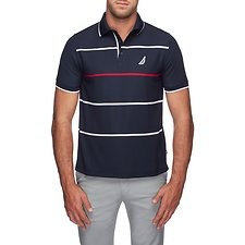 Image of Nautica NAVY NAVTECH COLOUR POP STRIPE POLO SHIRT