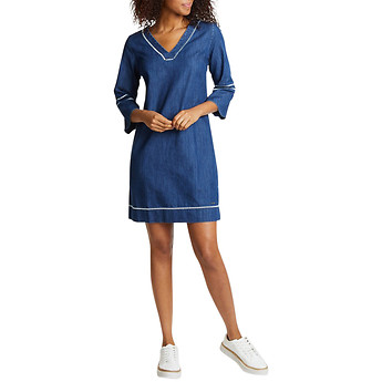 Image of Nautica  EMBROIDERED V-NECK DRES