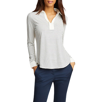 Image of Nautica  REVERSE STRIPE V NECK TOP
