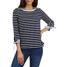 Image of Nautica  TIE CUFF STRIPED TOP