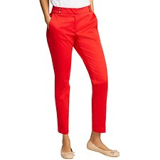 Image of Nautica BRIGHT RED ANKLE LENGTH PANT WITH SNAP TAB WAISTBAND