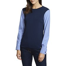 Image of Nautica  CONTRAST STRIPED SLEEVE SWEATER