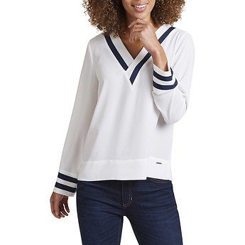 Image of Nautica  V - NECK TIPPED LONG SLEEVE TOP