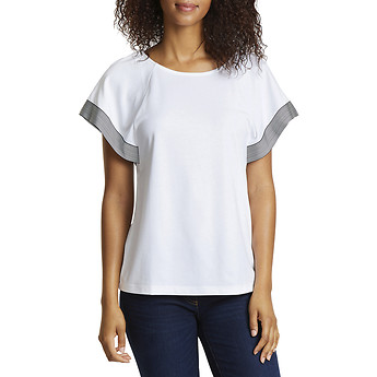 Image of Nautica  STRIPE EDGE CAP SLEEVE TOP