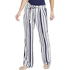 Image of Nautica BRIGHT WHITE TIE WAIST STRIPED WIDE LEG PANTS