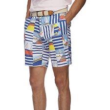 Image of Nautica WINDSURF BLUE Stripe Boat Party Flat Front Shorts