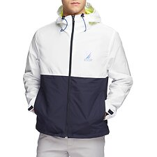 Image of Nautica BRIGHT WHITE Blue Sail Hood Windbreaker