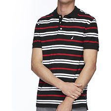 Image of Nautica NAVY SHORT SEEEVE MULTI-STRIPE POLO