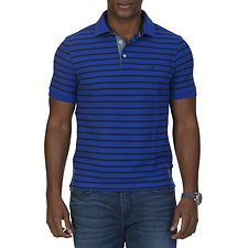 Image of Nautica BLUE COBALT SHORT SLEEVED STRIPED DECK SHIRT
