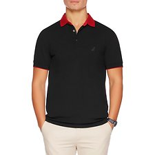 Image of Nautica TRUE BLACK SHORT SLEEVE CONTRAST COLLAR STRETCH POLO