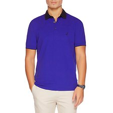 Image of Nautica BRIGHT COBALT SHORT SLEEVE CONTRAST COLLAR STRETCH POLO