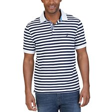 Image of Nautica BRIGHT WHITE STRIPED SHORT SLEEVE DECK POLO SHIRT