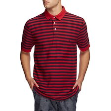 Image of Nautica NAUTICA RED STRIPED SHORT SLEEVE DECK POLO SHIRT
