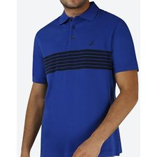 Image of Nautica COBALT BLUE CHEST CLRBLCK SHORT SLEEVE POLO SHIRT