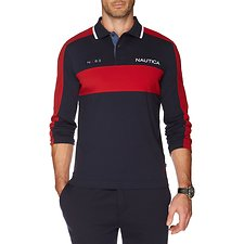 Image of Nautica TRUE NAVY HEAVY JERSEY COLOUR BLOCK POLO