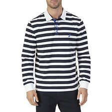 Image of Nautica BRIGHT WHITE LONG SLEEVE STRIPE RUGBY POLO