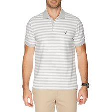 Image of Nautica GREY HTHR PERFORMANCE STRIPE SHORT SLEEVE POLO