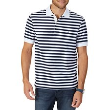 Image of Nautica BRIGHT WHITE PERFORMANCE STRIPE SHORT SLEEVE POLO