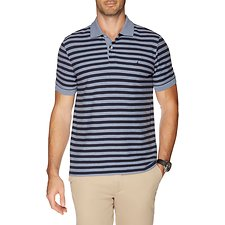 Image of Nautica DEEP ANCHOR HTR PERFORMANCE STRIPE SHORT SLEEVE POLO