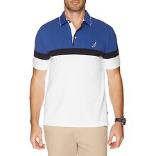 Image of Nautica BRIGHT WHITE COLOUR BLOCK ENGINEER STRIPE POLO