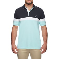 Image of Nautica HARBOR MIST COLOUR BLOCK ENGINEER STRIPE POLO