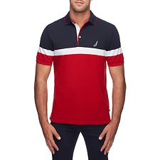 Image of Nautica NAUTICA RED COLOUR BLOCK ENGINEER STRIPE POLO