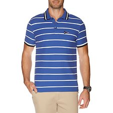Image of Nautica MONACO BLUE SHORT SLEEVE FLAG STRIPE PERFORMANCE POLO
