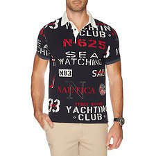 Image of Nautica RIVERSIDE BLUE SHORT SLEEVE ALLOVER PRINT POLO