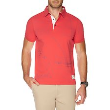 Image of Nautica SAILOR RED SOFT PRINT JERSEY POLO SHIRT