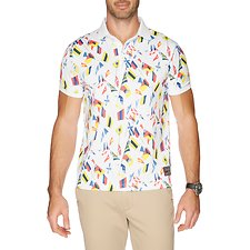 Image of Nautica BRIGHT WHITE SS FLAG PRINT POLO