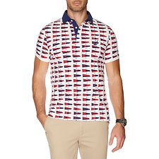Image of Nautica MARSHMALLOW SS ALLOVER FLAG POLO
