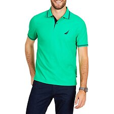 Image of Nautica BRIGHT GREEN STRIPE EDGE SHORT SLEEVE POLO SHIRT