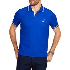 Image of Nautica BRIGHT COBALT PIQUE TECH STRIPE POLO