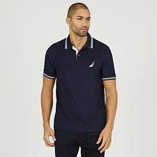 Image of Nautica NAVY STRIPE EDGE SHORT SLEEVE POLO SHIRT